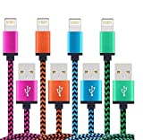 Electronics : QXTE iPhone Cable,4Pack 3FTCharging Cord - Nylon Braided USB Lightning Charger for iPhone 7,SE,5,5s,6,6s,6 Plus,iPad Air,Mini,iPod