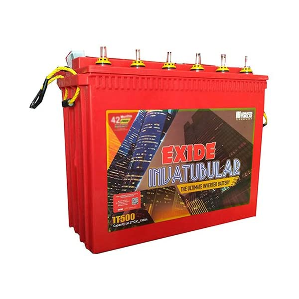 Exide Technologies Plastic Inva Tubular Tall IT500 150Ah Battery (Multicolour) 2021 June Warranty- 42 months Tough battery with thicker plates for tough conditions Made with exide's torr tubular technology