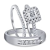 Silvercz Jewels 1.80 Ct Diamond 14k White Gold Over His & Her Engagement & Wedding Trio Ring Set