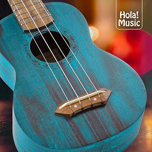 Hola! Music HM-121BU+ Deluxe Mahogany Soprano Ukulele Bundle with Aquila Strings, Padded Gig Bag, Strap and Picks – Teal