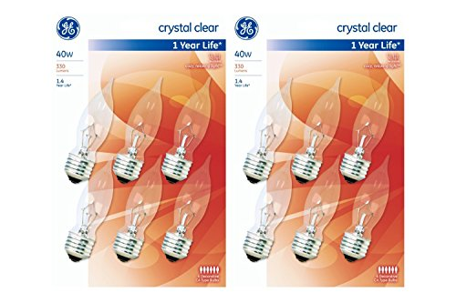 GE Crystal Clear 40 Watt Bent Tip Decorative CA Type Bulbs, 330 Lumens, 6 count (2 Pack) - Bulb Tip