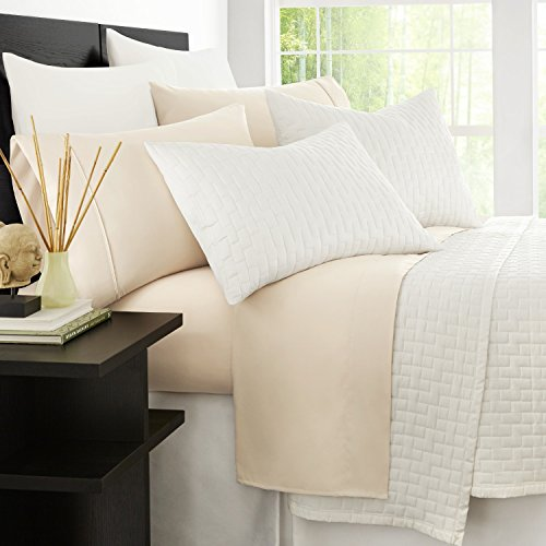 Zen Bamboo Eco-Friendly Hypoallergenic and Wrinkle Resistant Ultra Soft 4-Piece Bamboo Queen Bed Sheets - Cream (Queen Cream Sheets compare prices)
