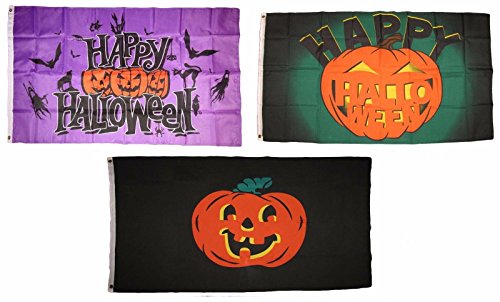 ALBATROS 3 ft x 5 ft Happy Halloween 3 Pack Flag Set #114 Combo Banner Grommets for Home and Parades, Official Party, All Weather Indoors Outdoors