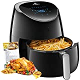 Air fryer, Tidylife 5.8 QT Air Fryer XL with LCD Digital Touchscreen, 1700W Electric Hot Air Fryer with 8 Cooking Preset, Fast Oilless Cooking, Auto Shut Off with 50+ Recipes