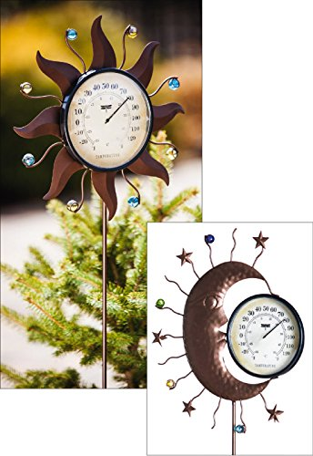 (Evergreen Decorative Garden Stake Thermometer, one pc, Random, Celestial )