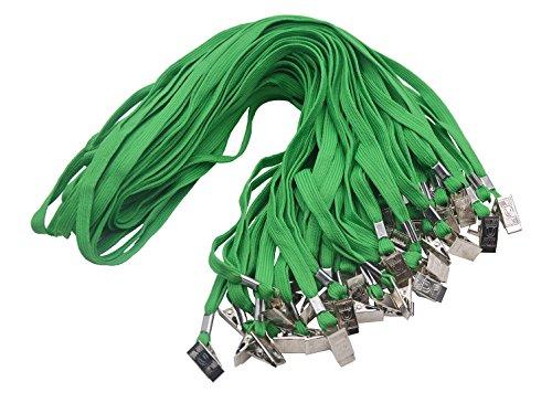SzJias GREEN Lanyards 50PCS 33-Inch Cotton Flat Lanyard Badge Clip (Cotton Green)