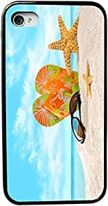 Rikki KnightTM Orange Green Flip-Flops In The Sand With Starfish Design iPhone 5 & 5s Case Cover (Black Rubber with bumper protection) for Apple iPhone 5 & 5s