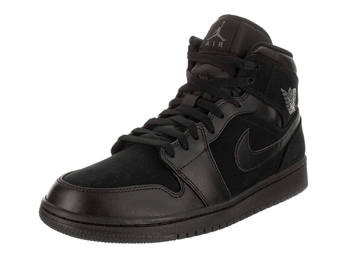 premium selection 07202 f41a5 Nike Jordan Mens Air Jordan 1 Mid Leather Synthetic Black Dark Grey  Trainers 10.5 US