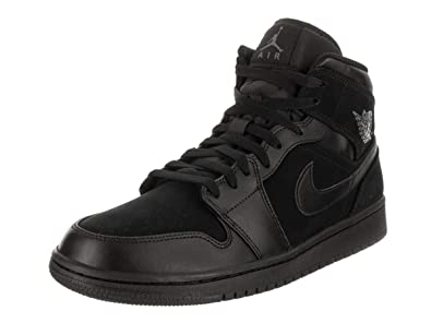 45472f93aeb Image Unavailable. Image not available for. Color: Nike Mens Air Jordan  Retro 1 Mid Basketball Shoes Black/Dark Grey/Black 554724