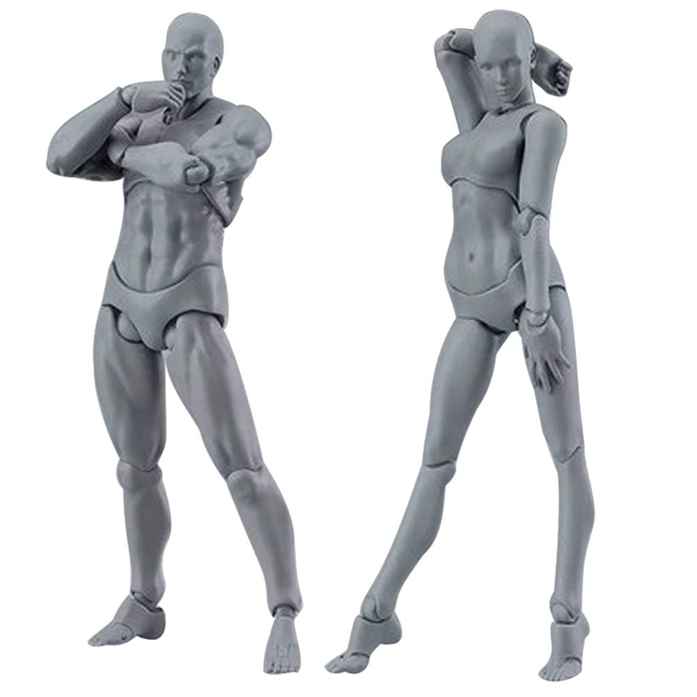 Tulas 2 Pcs/Set Action Figure Model, Human Mannequin Man /Woman Action Figure Equitment with Accessories Kit,Suitable for Sketching, Painting, Drawing, Artist, Kids, Cartoon Figures Action
