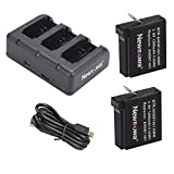 Newmowa 1200mAh Rechargeable AHDBT-401 Battery (2-Pack) and Rapid 3-Channel Charger for Gopro AHDBT-401, AHBBP-401 and Gopro Hero 4 Camera