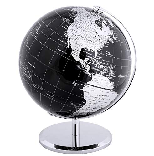 Exerz Metallic World Globe (Dia 12-Inch / 30cm) Black - Educational/Geographic/Modern Desktop Decoration - Stainless Steel Arc and Base/Earth World - Metallic Black - for School, Home, and Office ()