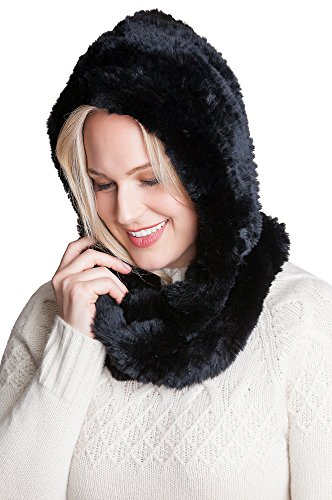 Knitted Rex Rabbit Fur Infinity Hooded Scarf by Overland Sheepskin Co