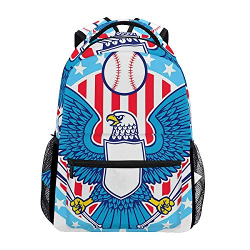 Eagle Mascot Baseball Blue Student Backpack, Large Laptop Backpack, Unisex Classic College Bookbag, Lightweight Travel Back Bag, School Bookbag,Superior Daypack ()