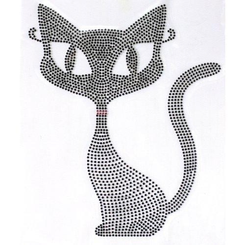 (Rhinestone Transfer Hot Fix T-shirt Clothing Crafts Cushion Black Cat Design 1 Sheets 7* 4.7 Inch)