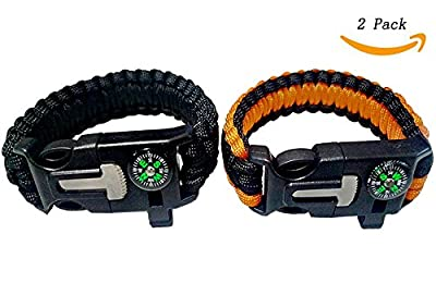 Survival Paracord Bracelets Dload Gear Kit with Embedded Compass, Fire Starter, Emergency Knife, Whistle for Hiking Camping - Pack of 2