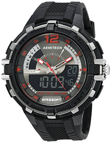 Armitron Sport Men's 20/5134BLK Analog-Digital Chronograph Black Resin Strap Watch