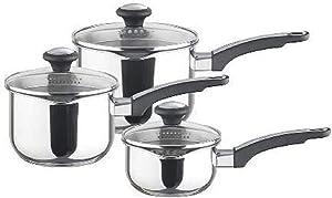 Prestige Everyday Straining Stainless Steel Cookware Set, 3-Piece - Silver