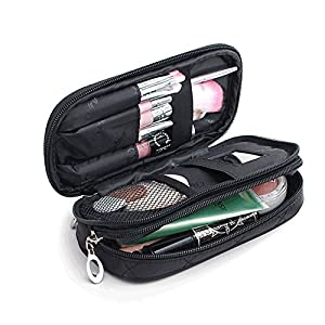 OR Pure Make Up Bag for Women with Mirror Beauty Makeup Brush Bags Travel Kit Organizer Cosmetic Bag Professional Multifunctional 2 layer Organiser (Black)