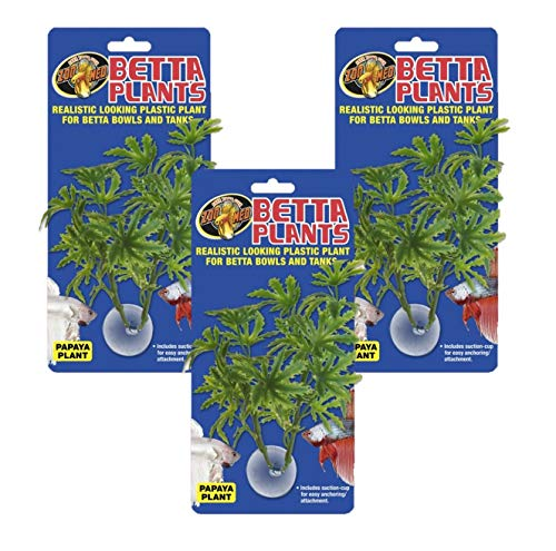 Zoo Med 3 Pack of Artificial Betta Tank Plants, Papaya Plant, with Suction - Med Cup Suction