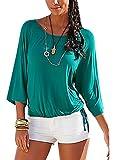 Smibra Womens Causal Solid 3 4 Sleeve Crew Neck Pleat Drawstring Shirt Blouse Top Green Large