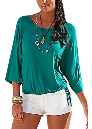 Smibra Womens Causal Solid 3 4 Sleeve Crew Neck Pleat Drawstring Shirt Blouse Top Green Large by Smibra