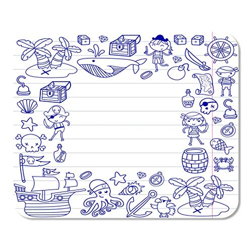 Suike Mousepad Computer Notepad Office Children Playing Pirates Boys and Girls Kindergarten School Preschool Home School Game Player Computer Worker 9.5x7.9 Inch -