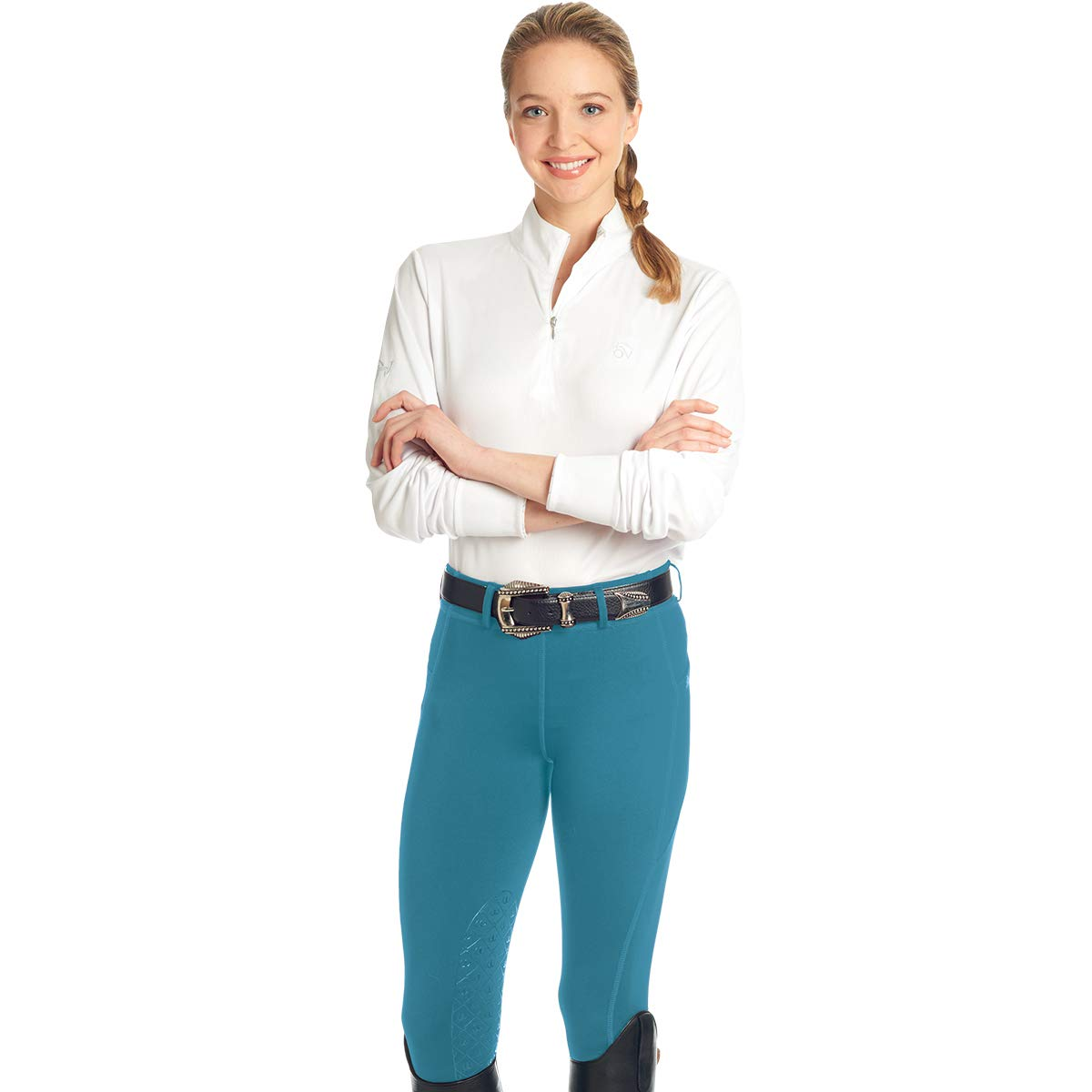 Ovation Ladies aerowick Kneepatch Breech B07B51KGMH Large|ピーコック(Peacock) ピーコック(Peacock) Large