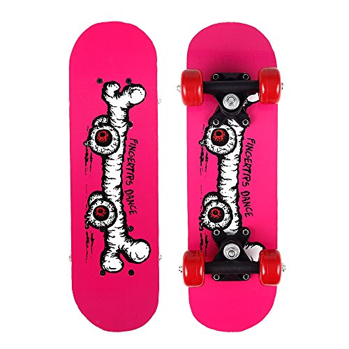 My First Toy Skateboards for 3-5 Year Old Kids - 17 Inch Mini Wooden Complete Skateboard for Beginners with Bone Design by ToyerBee