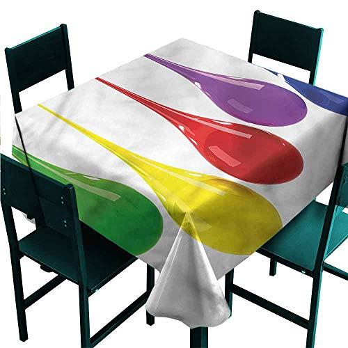 DONEECKL Antifouling Tablecloth Colorful Vivid Drops Paint Splash Picnic W54 xL54