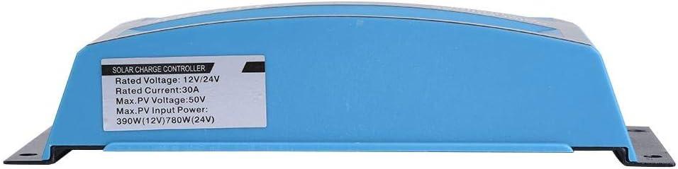 Orange 12V 24V 30A Contr/ôleur de Charge /à Panneau Solaire Double USB PWM /à 3 Niveaux avec /Écran LCD Protection Contre le Courant Inverse