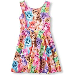 Little Girl's Classical Printed Sleeveless Summer Dress 5-6Years Cat