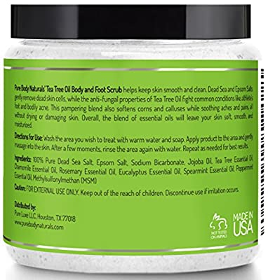Tea Tree Oil Foot Scrub with Dead Sea Salt, Antifungal Foot Treatment, Exfoliating, Powerful Cleansing and Moisturizing, Smooths Calluses and Athlete's Foot by Pure Body Naturals, 12 Ounce