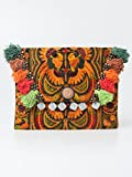 Changnoi Orange Bird Boho Clutch Hmong Embroidered Handmade Fair Trade Thailand