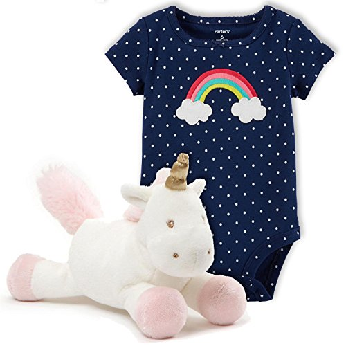 Unicorn Plush Toy Rattle Bundled With Rainbow Baby Polka Dot Bodysuit Onesie (2 Items) (3 Months) (Rattle Dot Polka)