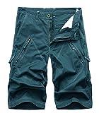 FOURSTEEDS Women's Cotton Loose Fit Zipper Multi-Pockets Twill Bermuda Drawstring Women Cargo Shorts