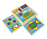 : Melissa & Doug Beginner Wooden Pattern Blocks Educational Toy With 5 Double-Sided Scenes and 30 Shapes