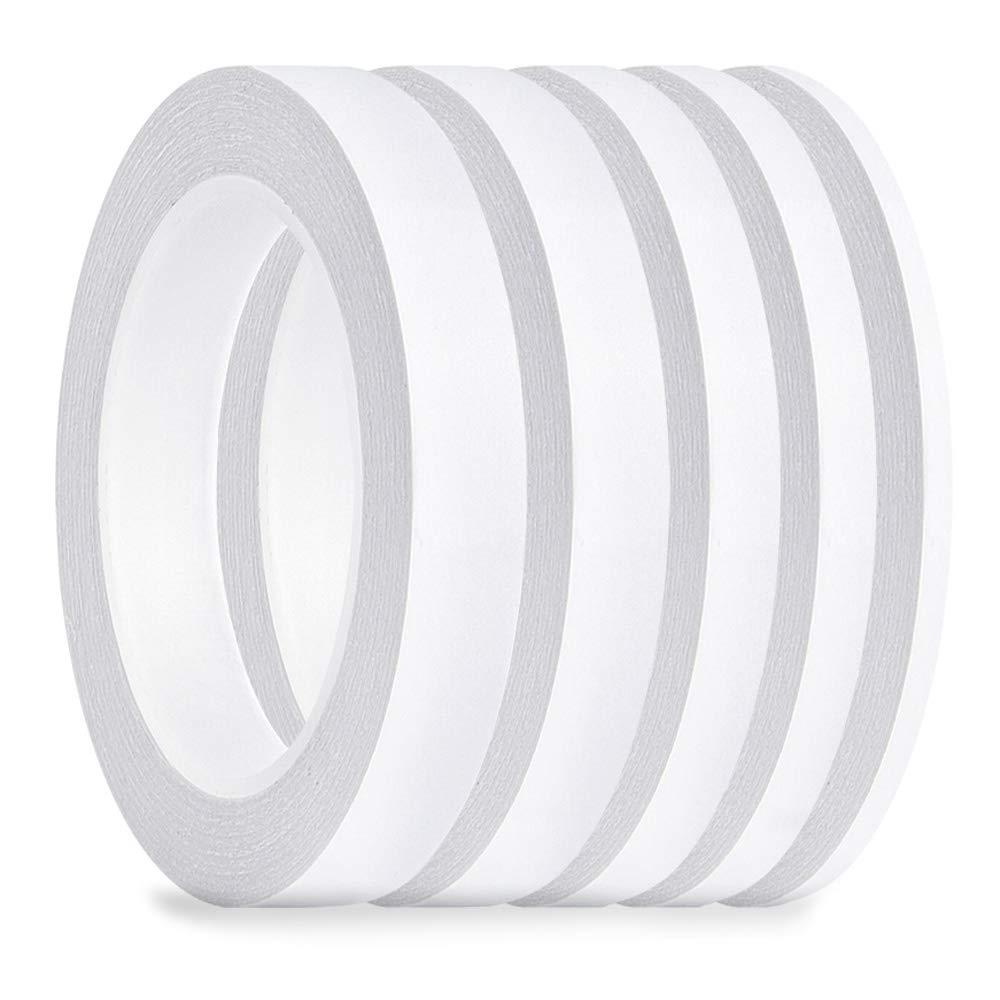 FEPITO 5 Pack Double face ruban multi-usages forte bande collante forte pour le bureau / artisanat / couture, 25m chaque rouleau (largeur: 6mm / 9mm / 12mm / 15mm / 18mm)