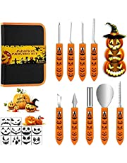 Professional Pumpkin Carving Kit - 9 Pcs Stainless Steel Pumpkin Carving Tools with Stencils and Carrying Case - Carve Pumpkin Sculpting Jack-O-Lanterns, Pumpkin Carver for Adults & Kids