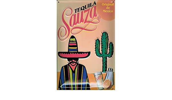 Diseño de nostalgia cartel Tequila Sauza limón México cacto ...