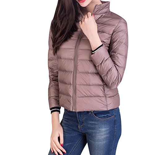 Women Khaki Jacket with Collar Winter Lighweight Down Packable Jacket Puffer Stand vrwOx7vqRF