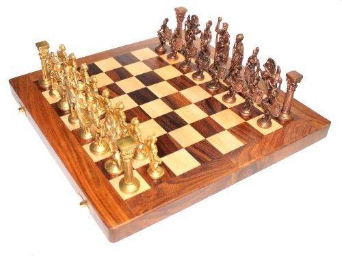 "StonKraft 14"" X 14"" Collectible Wooden Folding Chess Game Board Set+ Brass Roman Figure Pieces (Delivered Within 7 Days)"