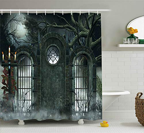 Horror House Decor Shower Curtain by Ambesonne, Moon Halloween Ancient Historical Gate Gothic Background Candles Fiction View, Fabric Bathroom Decor Set with Hooks, 84 Inches Extra Long, Hunter Green