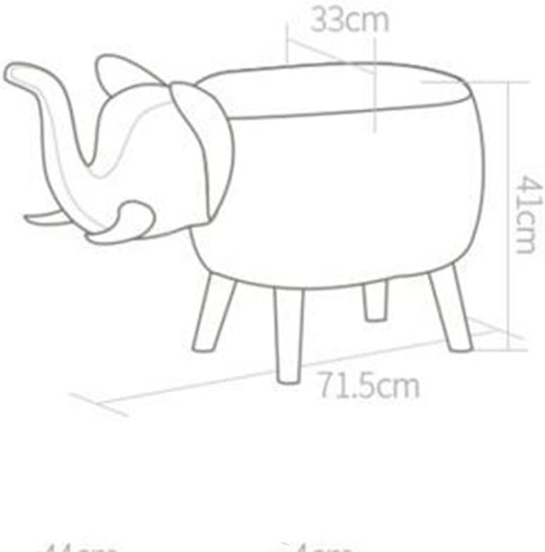 Colore : A-Linen H41cm Famiglia Ufficio Bar HAIZHEN Sedie Divani poggiapiedi Sgabello per Bambini in Elefante Sgabello per Divano in Legno massello Stile Cartoon W71.5 D33