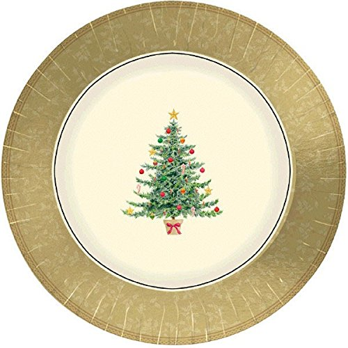Amscan Classic Victorian Tree Round Metallic Dessert Paper Plates Christmas Party Disposable Tableware (Pack Of 8), Multicolor, 7