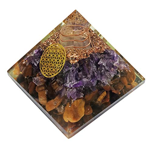 Orgone Pyramid Large Amethyst and Tiger Eye Crystal Energy Generator EMF Protection Meditation Healing ()