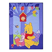 Disney Winnie the Pooh 'Winnie Story' Children's Bedroom Rug 3ft 1  X 4ft 4  W86 Washable in Blue with Non-slip Backing