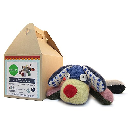 Cate and Levi 14 Handmade Scrappy Dog Plush Stuffed Animal Making Kit (Premium Reclaimed Wool), Colors Will Vary