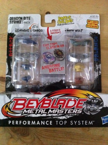 Beyblade, Metal Masters, Exclusive Dragon Bite Strike (Lightning L-Drago #BB-43C and Earth Wolf #B-108) 2-Pack by Hasbro