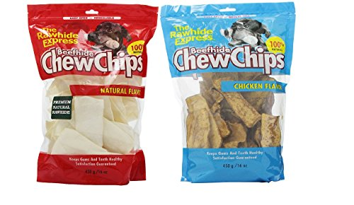 - The Rawhide Express Rawhide Strips/Chips Dog Chews, Combo Pack in Natural and Chicken Flavor 16 oz 450 g Each Bag